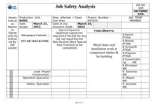 JSA of metal sheet roof installation work at compressor shelter & far building No.049(rev1).doc