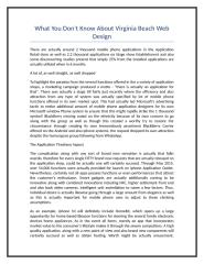 What You Don't Know About Virginia Beach Web Design.doc
