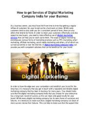 How to Get Services of Digital Marketing Company India for your Business.pdf