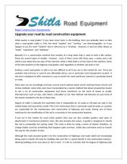 Upgrade your road by road construction equipment.doc